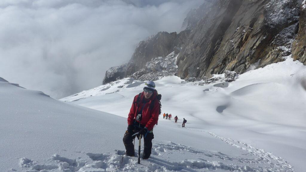 Der Anstieg zum Margherita Gipfel im Rwenzori Mountain National Park erfolgt über einen Gletscher