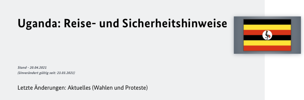 Uganda Reisehinweise des Deutschen Aussenministeriums