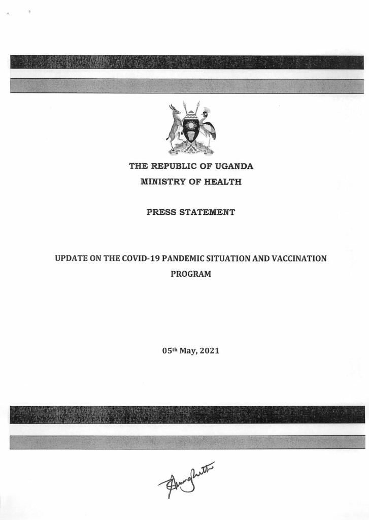 Uganda-covid-19-update des Ministry of Health Uganda Seite 1